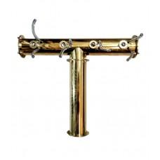 Пивная башня Т-образная на 4 сорта, золото.